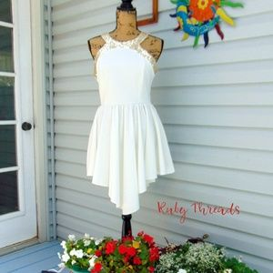 White with Gold Trim Short Formal Dress SZ 8